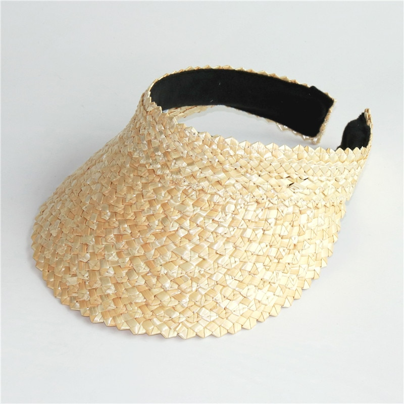 Wholesale Women Without Top Visor Caps Summer Straw Sun Hats Fashion UV hat Elastic Head Circumference Beach Hat
