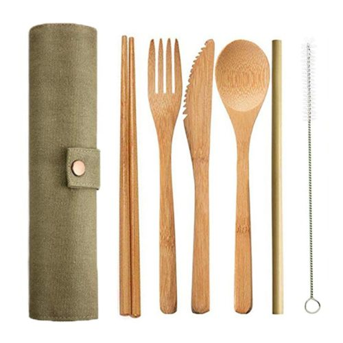 Wooden Cutlery Set with Bag (6pcs)