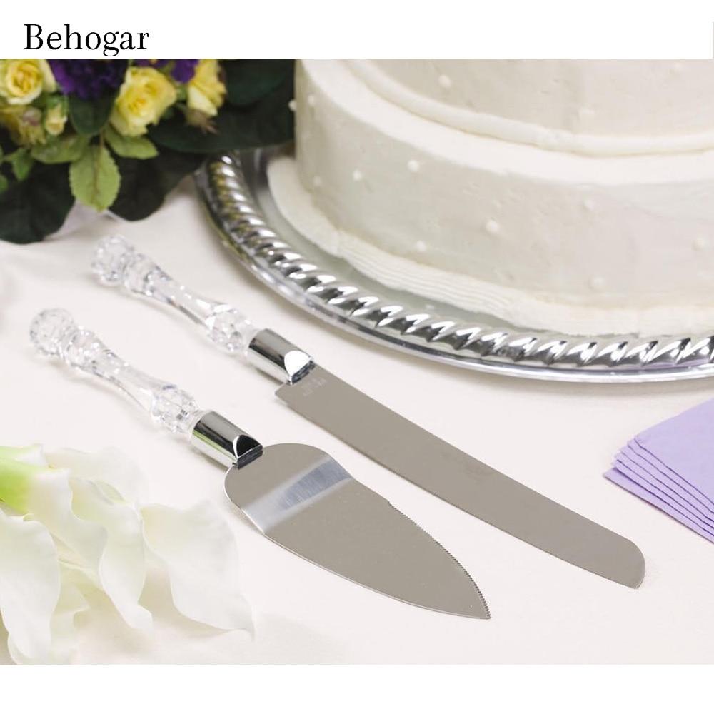 Behogar 2Pc Stainless Steel Blades Acrylic Handle Wedding Cake Knife Cutter Server Set for Wedding Birthday Anniversary with Box