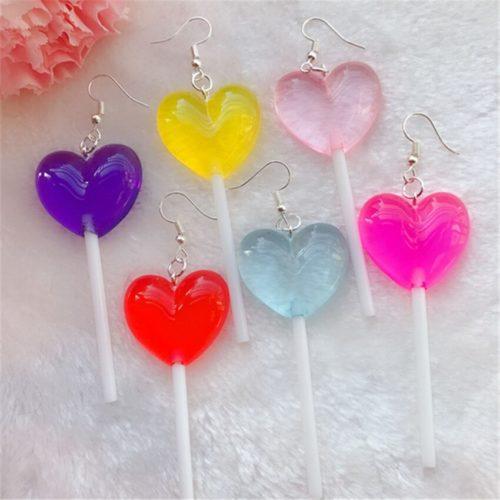 Heart Lollipop Earrings Cute Drop Earrings