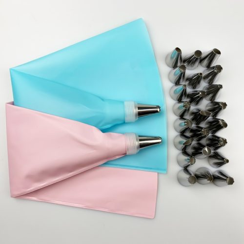Reusable Pastry Bags with Nozzles Set