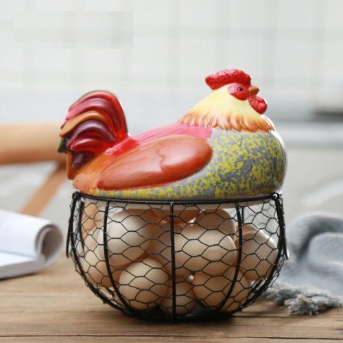 Hen Egg Holder Iron Basket Ceramic Cover