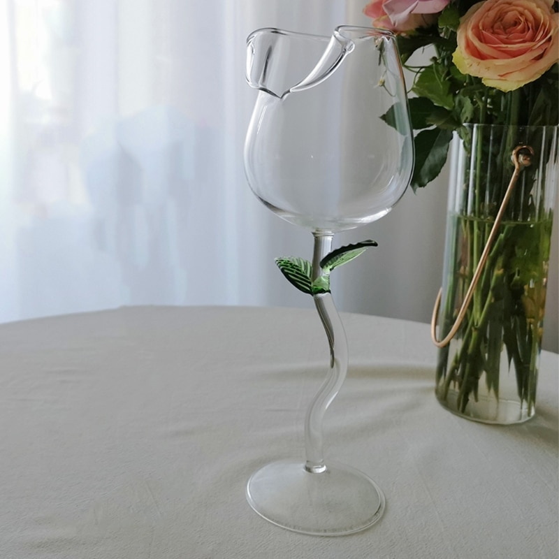 Wine Glass Rose Flower Shape Goblet Lead-Free Red Wine Cocktail Glasses Home Wed R9JC