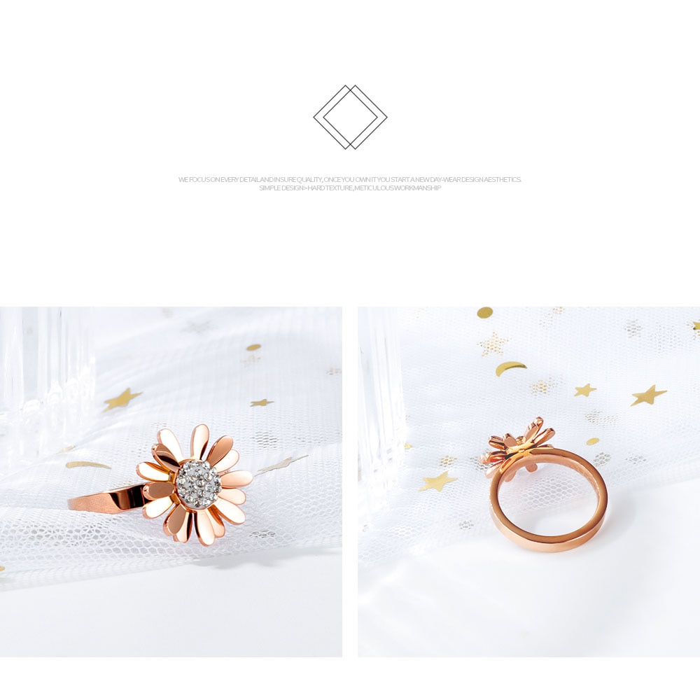 Lokaer Titanium Stainless Steel Cute Small Daisy Flower Ring Jewelry Rose Gold Pave Setting Crystal Party Rings For Women R19169