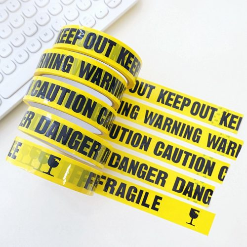 Yellow Caution Tape Warning and Safety Barrier