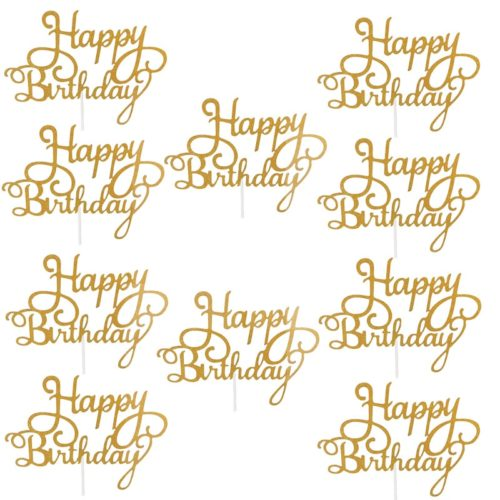 Happy Birthday Cake Toppers Glitter Decor