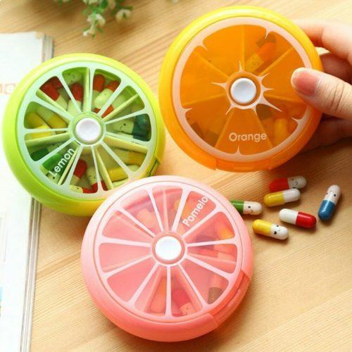 Round Pill Box Weekly Medicine Organizer
