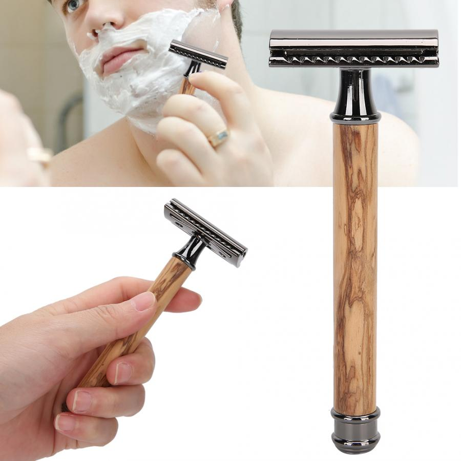 Adjustable Double-Sided Manual Mens Razor Wooden Handle Non-Slip Close-Fitting Portable Shaving Knife for Men