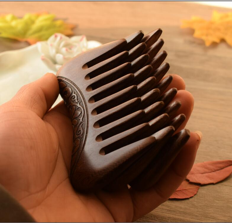 HBZGTLAD Pocket Wooden Comb Natural Gold Sandalwood Super Wide Tooth Wood Combs Double side engraved small hair combs
