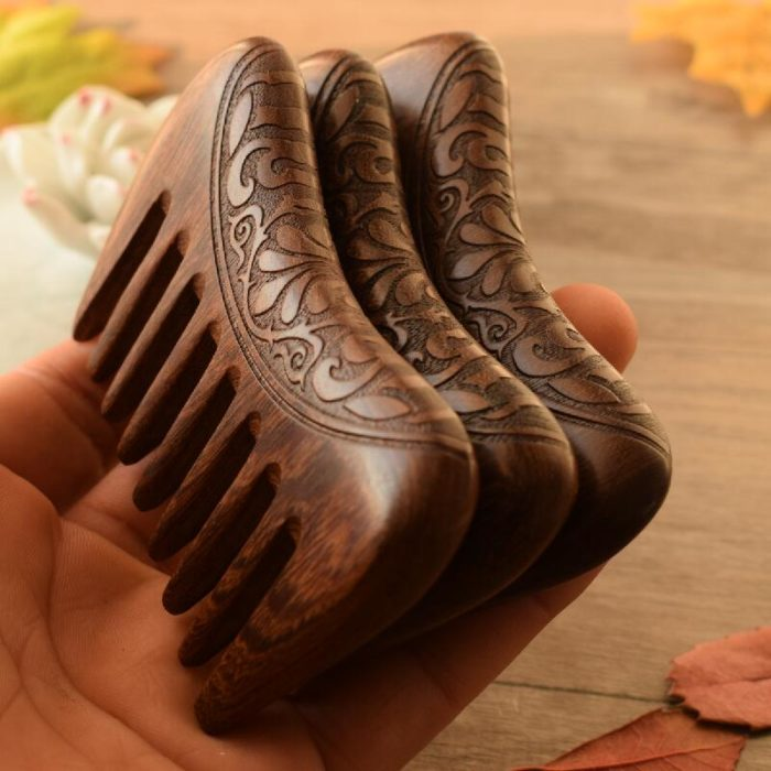Engraved Wooden Wide Tooth Comb