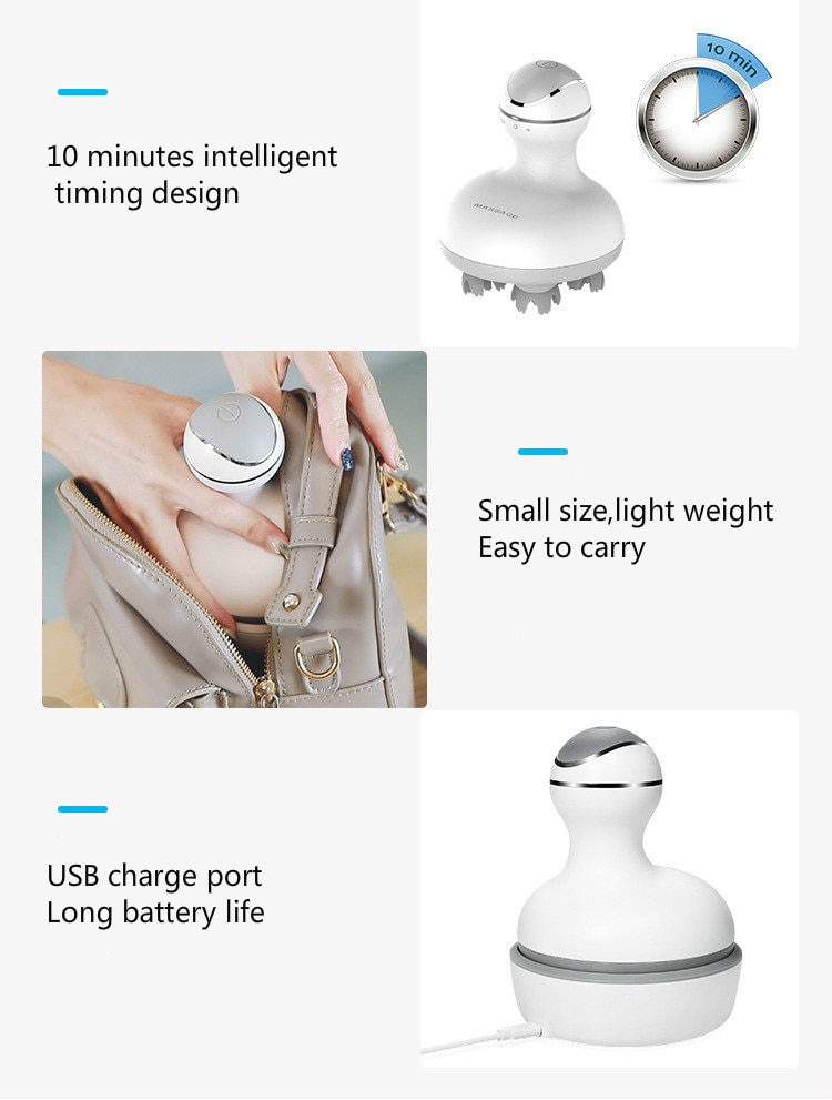 2021 New 3D Waterproof Electric Head Massager Wireless Scalp Massage Promote Hair Growth Body Deep Tissue Kneading Vibrating