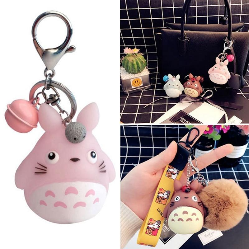 1pc Fashion Keychain Cute Kawaii Kitten Cat Key Chain Anime Totoro Doll Key Ring Creative Charm Women Girl Kids Pendant Keyring