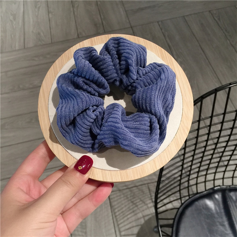2020 Women Warm Corduroy Big Hair Scrunchies Solid Soft Vintage Hair Gums Striped Fabric Rubber Bands Girls Hair Accessories