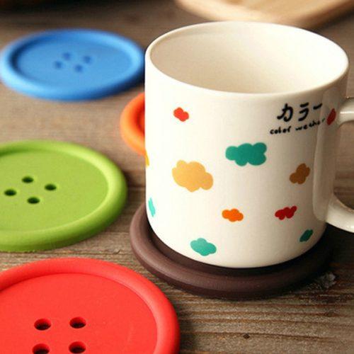 Button Coaster Silicone Cup Mat