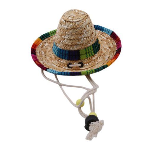 Adjustable Straw Hat Cat Sombrero