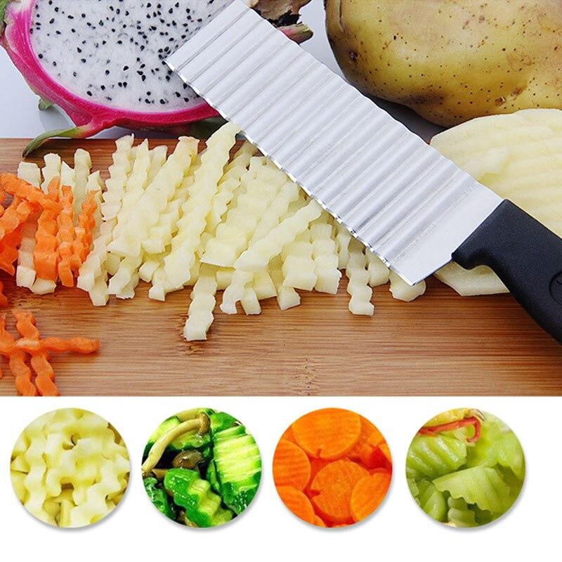 Stainless Steel Potato Chip Slicer Dough Vegetable Fruit Crinkle Wavy Slicer Knife Potato Cutter Chopper French Fry Maker