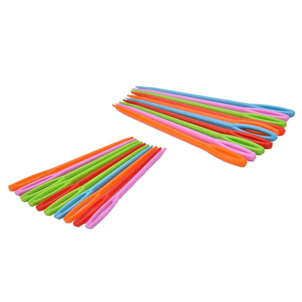 20pcs Plastic Knitting Needles Crochet Hooks Tapestry Wool Yarn Needles Children DIY Sweater Weaving Tools 2 sizes