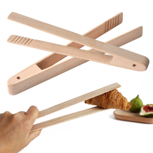 Wooden Bamboo Bread Tongs