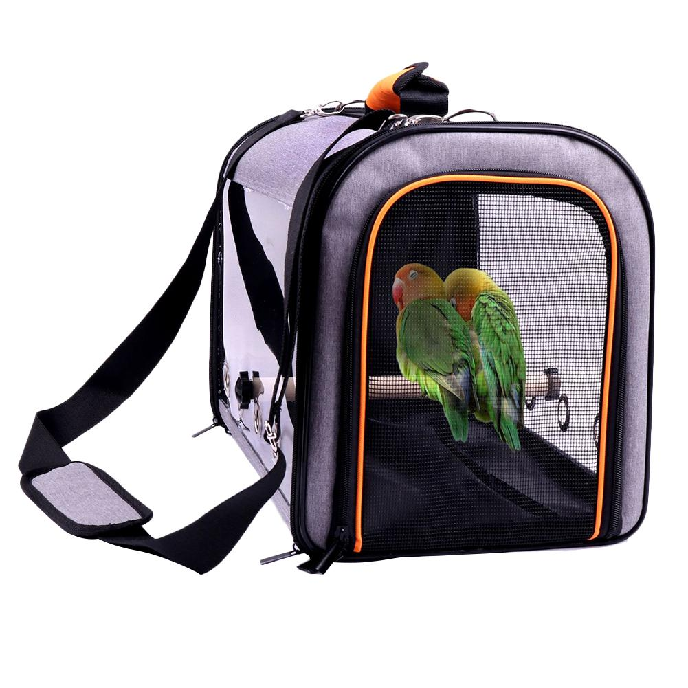 Bird Carrier Bird Travel Cage With Standing Pole Perch Foldable Breathable Anti-scratch Net Pet Bird Parrot Carrier Bag
