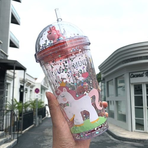 Cute Unicorn Tumbler with Straw