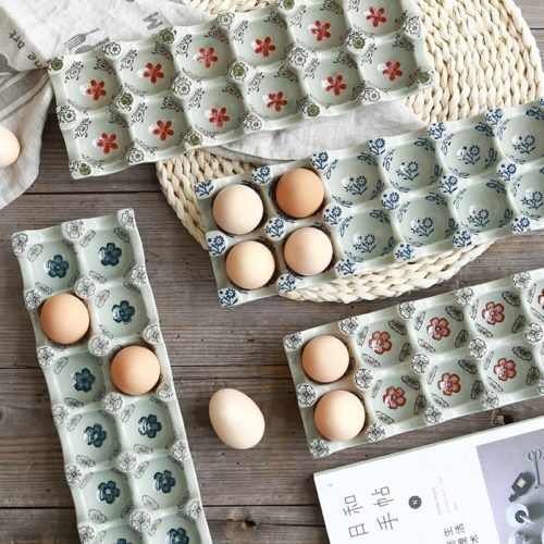 12-Grid Ceramic Egg Tray