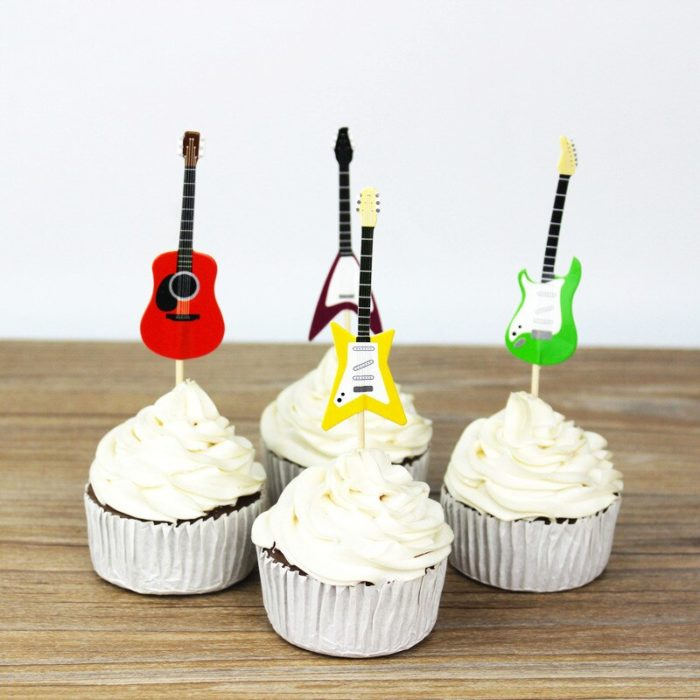 Paper Guitar Cake Toppers (24pcs)