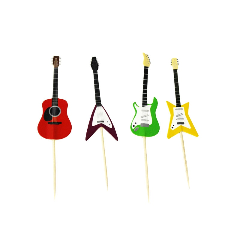 24PCS Guitar Shaped Cupcake Toppers For Kids Birthday Cake Decor Paper Cake Topper Music Theme Party Supplies