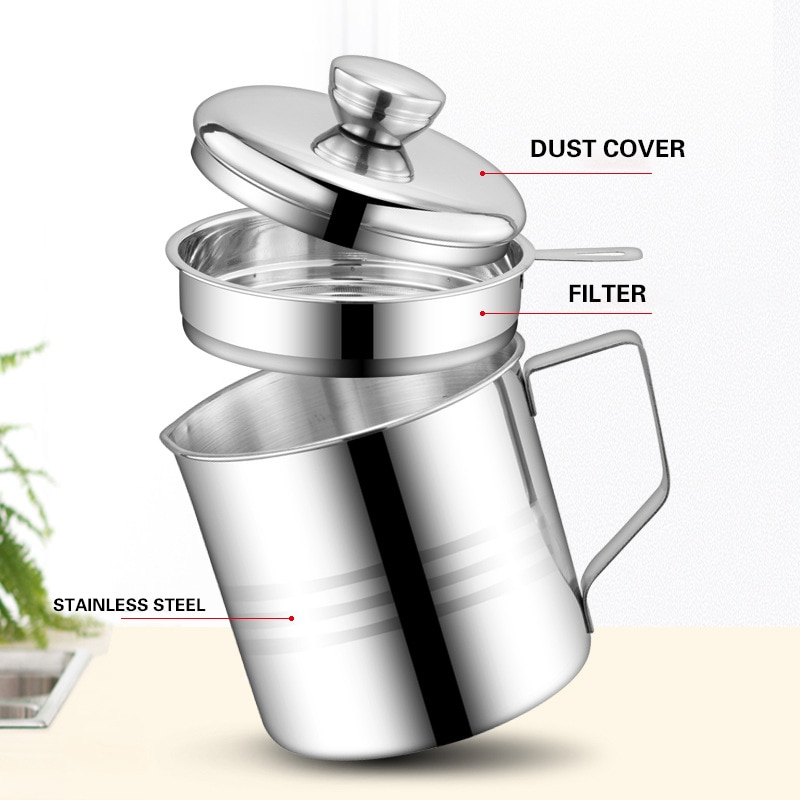 1.2L Oil Strainer Pot Container Stainless Steel Jug Storage Can with filter Leakproof Cooking Oil Pot Dispenser Kitchen Tools