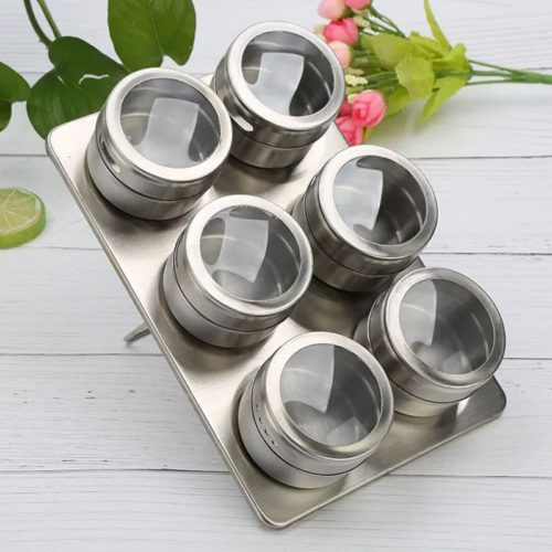 Stainless Magnetic Spice Holders (6pcs)