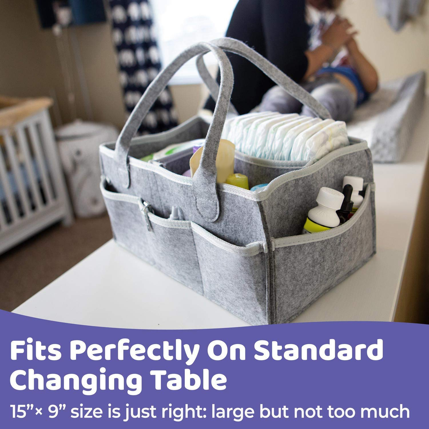 Baby Diaper Caddy Organizer Portable Holder Bag for Changing Table and Car, Nursery Essentials Storage bins 38*23*18cm