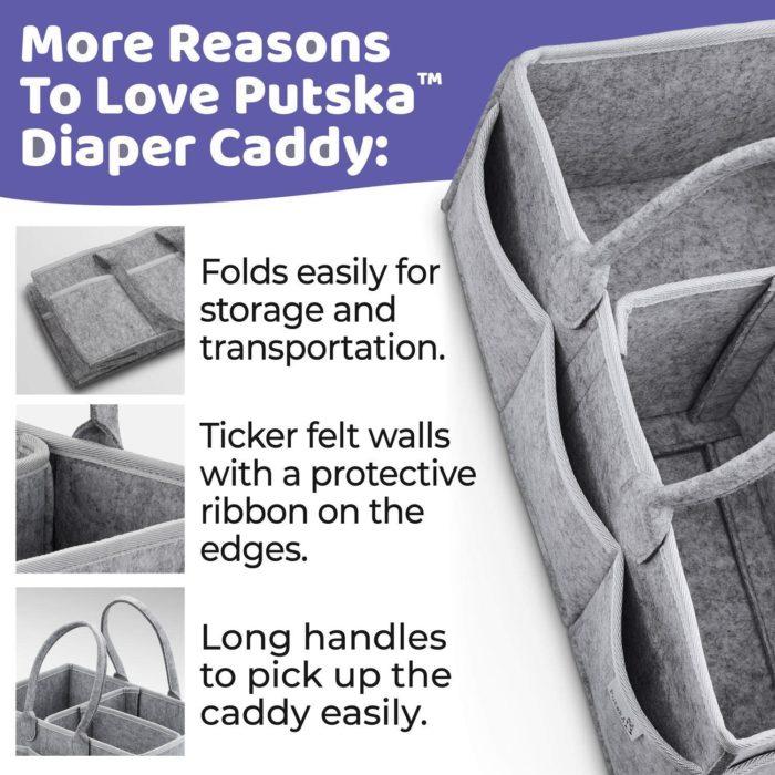 Diaper Caddy Basket Felt Storage Bag
