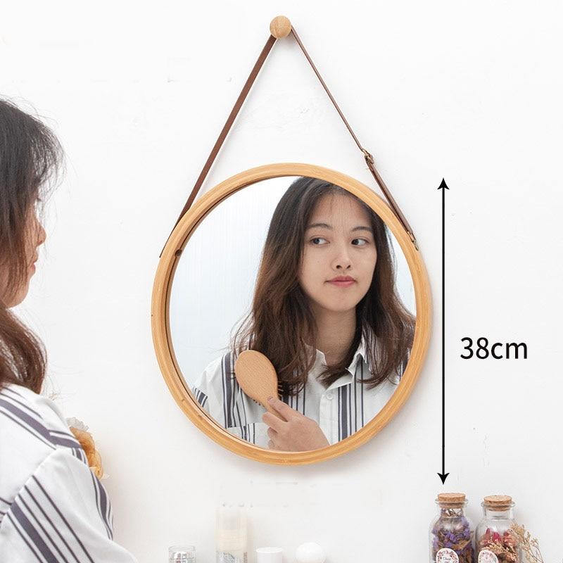 Nordic Bathroom Mirror Round Wall Mount Mirror Hanging Ornament Salon Bathroom Decor Mirror Safety Explosion-proof