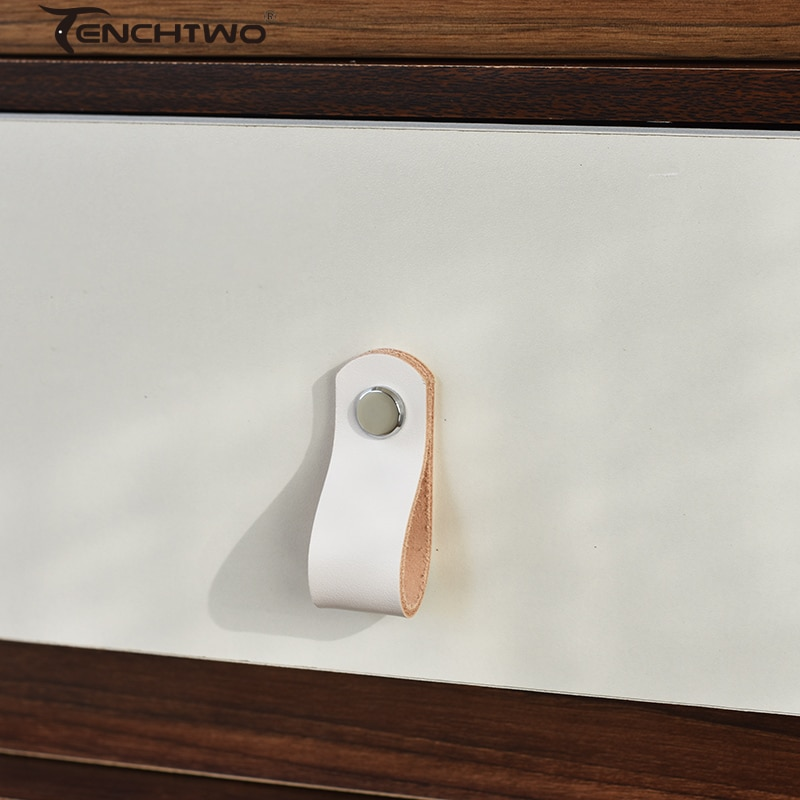 Nordic Style Italian Leather Drawer Knobs Closet Shoe Cabinet Wine Cupboard Cowhide Handle Furniture Pulls Hardware