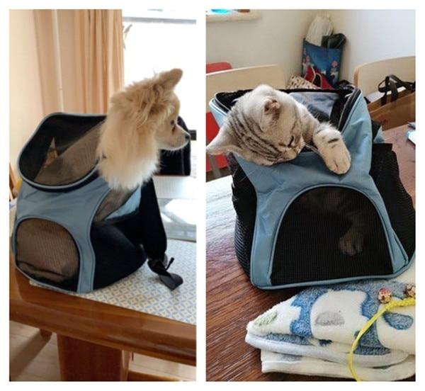 Foldable Pet Carrier Backpack Dog Cat Outdoor Travel Carrier Packbag Portable Zipper Mesh Pet Backpack Pet Out Bag Cat Backpack