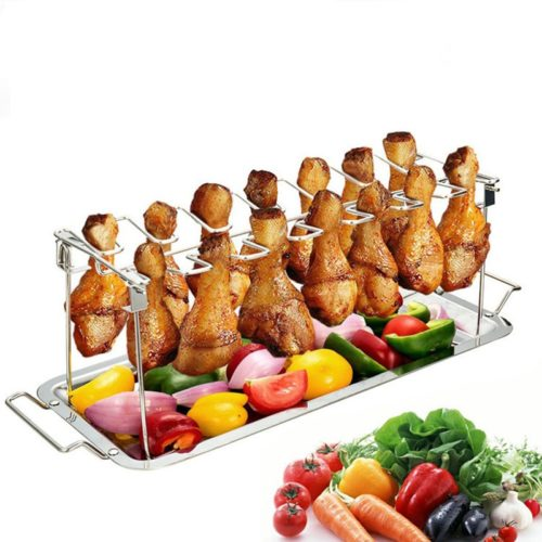 Stainless 14-Slot Chicken Leg Rack