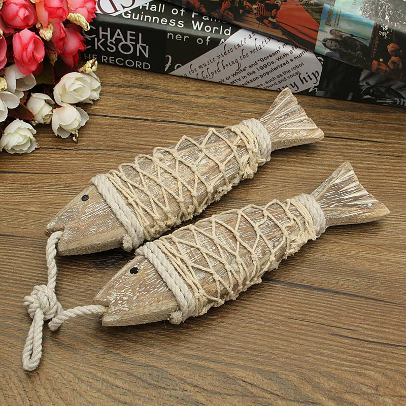 2pcs Hand Carved Hanging Marine Coastal Wooden Fish Wall Sculptures DIY Home Room Nautical Decor