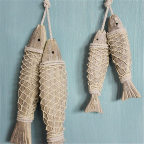 Rustic Wooden Hanging Fish Decor