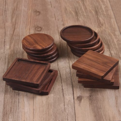 Natural Wood Drink Coaster Mat
