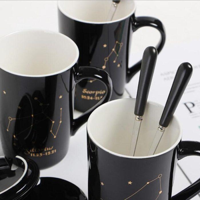Zodiac Constellation Mug with Lid and Teaspoon