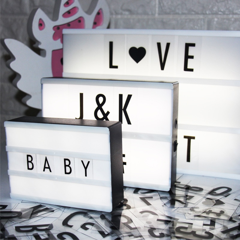 WoodPow A4 A5 A6 Size LED Combination Night Light Box Night Lamp DIY Letters Cards USB Port Battery Powered Cinema Lightbox