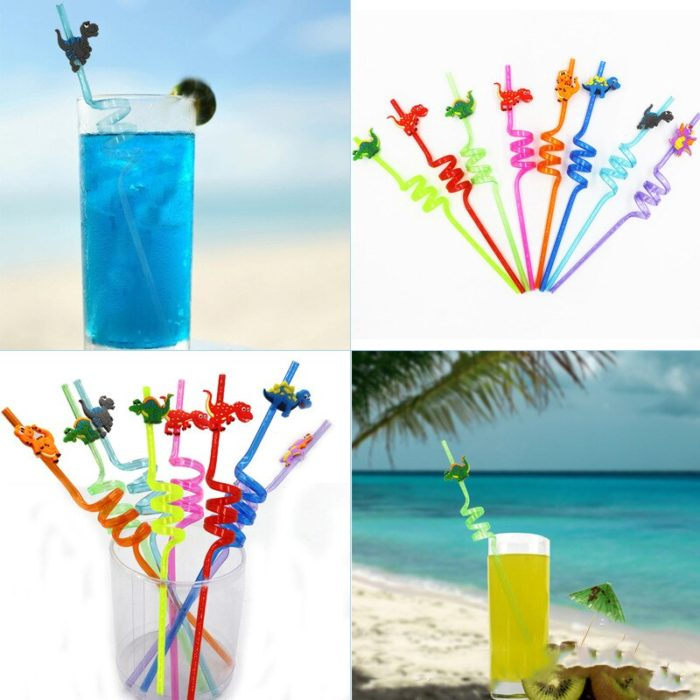 Reusable Spiral Straws with Dino Toppers