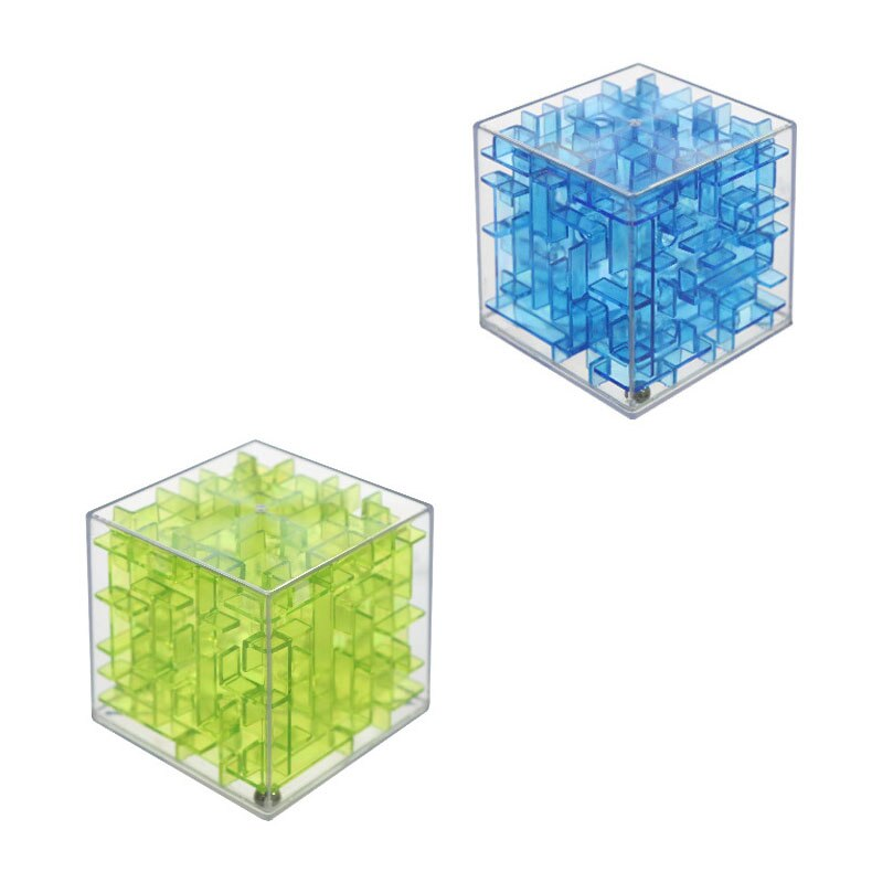 6CM 3D Maze Magic Cube Transparent Six-sided Puzzle Speed Cube Rolling Ball Game Cubos Track Educational Toys for Children Gifts
