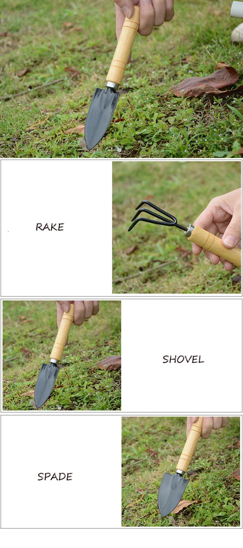 Hot Sale 3PC/Set Mini Garden Hand Tool Kit Plant Gardening Shovel Spade Rake With Wood Handle Metal Head For Gardener