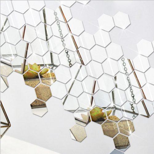 Hexagon Wall Mirrors Stickers (12 Pcs)