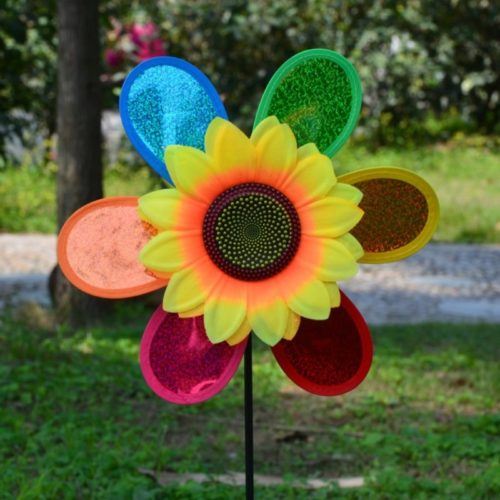Sunflower Wind Spinner Colorful Yard Decoration