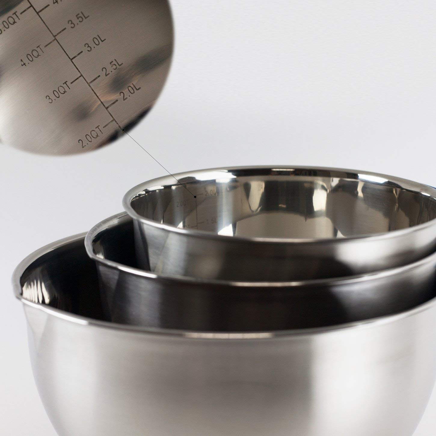 Stainless Steel Mixing Bowls With lid Handle Non-Slip Silicone Base DIY Cake Baking Mixer Bowl Salad Grater Kitchen Cooking Tool