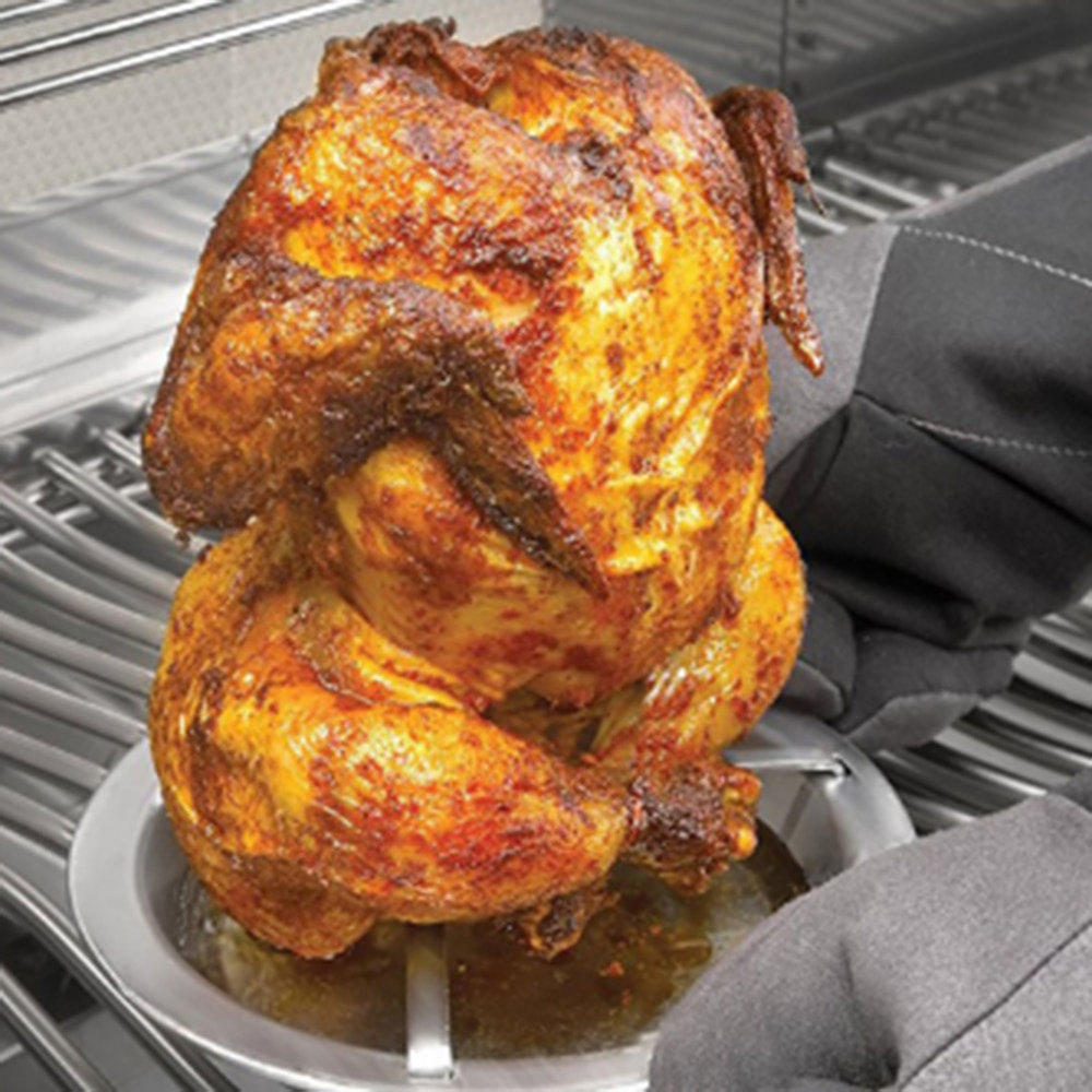 Chicken Roaster Rack Folding Stainless Steel Vertical Roaster Chicken Holder Pan Non Stick Carbon Steel Grilling Tool for BBQ