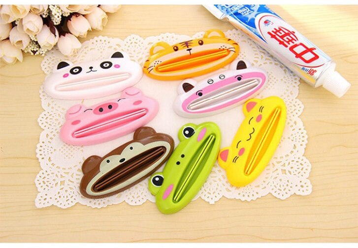 Cartoon Bathroom Dispenser Toothpaste 1pc/lot Lovely Animal Tube Squeezer Easy Squeeze Paste Dispenser Roll Holder 8.8*4cm