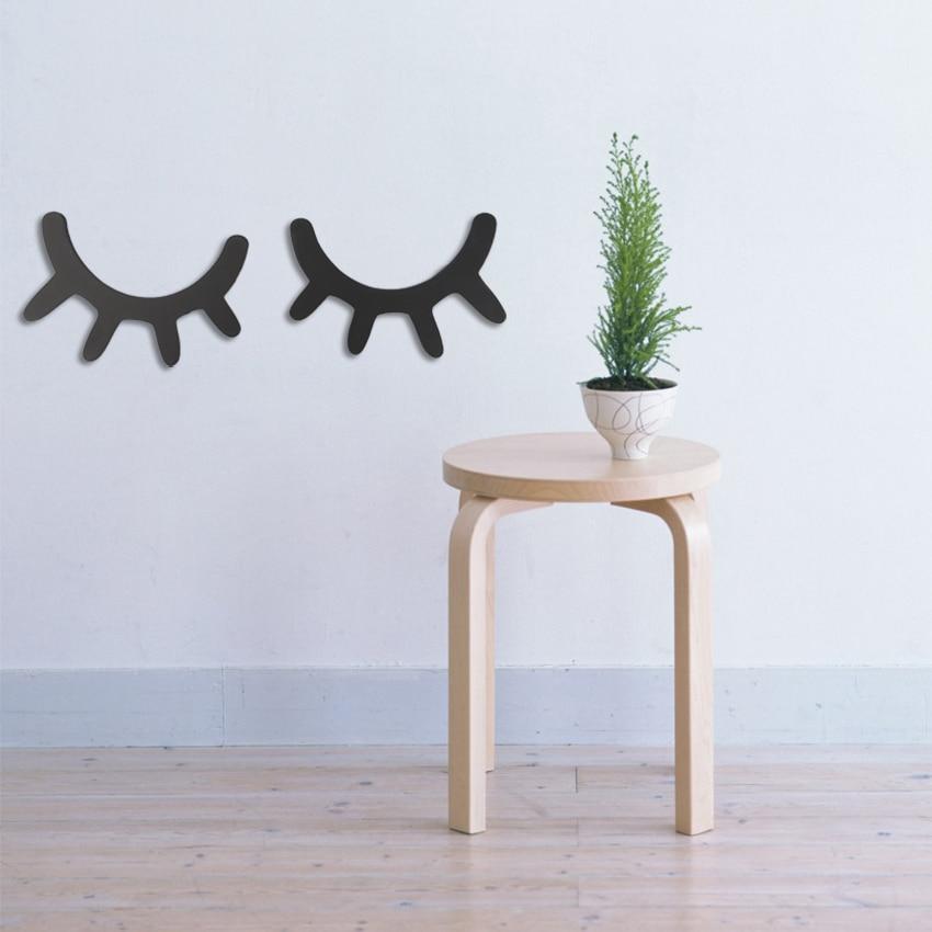 1 Pair Nordic Style Cute Wooden 3D Eyelash Wall Sticker Decor Children Kids Baby Room Background Wall Sticker Home Decoration