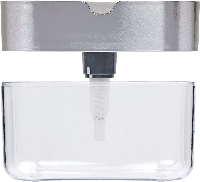 YCOO 2-in-1 Soap Dispenser Dishwashing Liquid Dispenser Manual Press Liquid Soap Dispenser Kitchen Wash Soap Pump Sponge Caddy